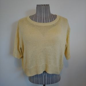 H&M Oversized Knit Top with Short Sleeves, Yellow